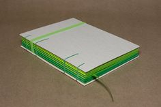 Cream and Green Two Needle Coptic Journal by etVerso on Etsy