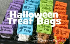 Chocolate chips for witches warts, marshmallows for ghost poop, cinnamon toast crunch for monster scabs, candy corn for jackolantern teeth!