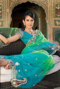 Blue & green shaded net saree