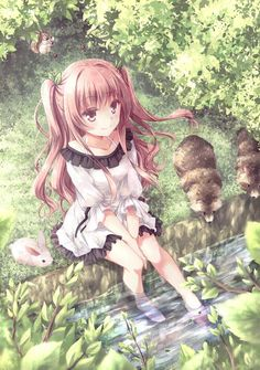 ✮ ANIME ART ✮ animals. . .anime girl with animals. . .raccoons. . .rabbit. . .bunny. . .forest. . .trees. . .leaves. . .wildlife. . .stream. . .long hair. . .twin tails. . .nature. . .cute. . .kawaii