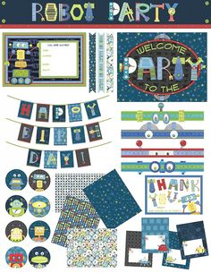 Robot Party Printable Package by Nicole Tamarin via lilblueboo.com