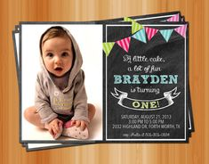 Chalkboard Birthday Invitation, Bunting Flags, Pastel, Kid's Birthday Invitation, Age and Color Customized