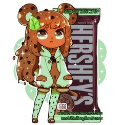 Hershey Kuma: Cookie N Mint by ScarletDestiney on DeviantArt Cartoon As Anime, Cute Anime Chibi, Kawaii Chibi, Kawaii Anime Girl, Kawaii Art, Anime Art Girl, Cute Food Drawings, Cute Animal Drawings, Kawaii Drawings