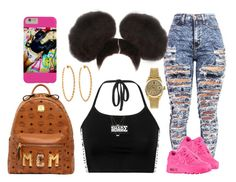 """Poof Pink"" by myra-moore ❤ liked on Polyvore featuring NIKE, MCM, Lisa Stewart, Rolex and ASOS"