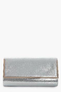 #boohoo Metal Frame Clutch Bag - silver DZZ42123 #Jessica Metal Frame Clutch Bag - silver