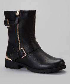 Black Lug Buckle Boot