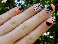 #nail #nailart #nails #nailpolish #leopard #leopardprint #animalprint #colorblock #colorblocking #neon #black