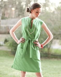 sleeveless belted tunic dress by Kayce Hughes
