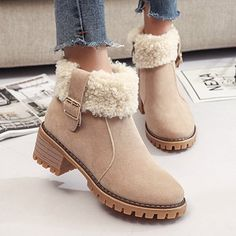 Women's Boots Plain High Heeled Velvet Round Toe Casual Outdoor Short High Heels Boots High Heels Boots, Chunky High Heels, Heeled Boots, Ugg Style Boots, Ugg Boots, Vegan Boots, Short Heels, Comfortable Boots, Comfy Shoes