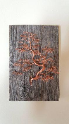 New Bonsai Tree Sculpture 31 Ideas Metal Tree Wall Art, Leaf Wall Art, Metal Art, Wood Art, Copper Wire Art, Copper Wall, Bonsai Wire, Wire Tree Sculpture, Sculpture Ideas