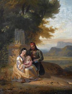 Jules le Coeur (1832-1882)-Greek family in a landscape