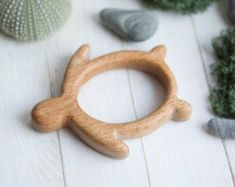 Organic Wooden Teether rocket . Beech Teething Toy. by tinyfoxhole #woodentoy
