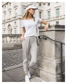 LUXE LÉGER TRACK PANTS SHEER +CLASSY ROUND NECK T-SHIRT WHITE = perfect summer look. ☀️ Breathable fabric will ease the heat and the garment's effortless style will keep you flexible throughout the day!  #INAKESS #swissfashionbrand #swissdesign #sportswear #swissmade #italianfabric #sustainable #activewear #innovation#atelier #zurich #switzerland