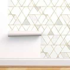 Mod Triangles Wallpaper - Mod Triangles White Gold By Crystal Walen - Custom Printed Removable Self Adhesive Wallpaper Roll by Spoonflower Office Wallpaper, Wallpaper Panels, Self Adhesive Wallpaper, Custom Wallpaper, Wallpaper Roll, Peel And Stick Wallpaper, Modern Wallpaper, Gold Wallpaper Nursery, Modern Kitchen Wallpaper Ideas