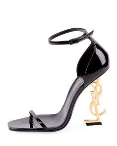 a8b54a4c315 Saint Laurent Opyum Logo-Heel Sandals with Golden Hardware
