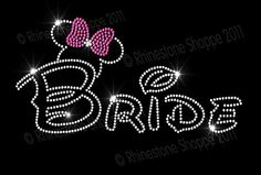 disney rhinestone appliques | Wedding: Disney Wedding BRIDE Rhinestone Transfer Minnie Mouse Ears ...