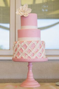 bright pink cake | featured wedding at the chanler at cliff walk   http://blisscelebrationsguide.com/