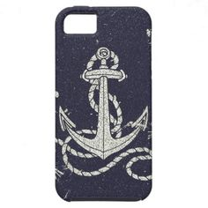 Navy Blue Nautical White Anchor for Sailor Texture iPhone 5 Covers $44.95