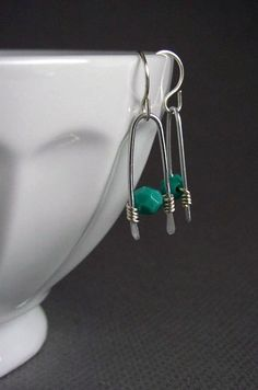 Turquoise Earrings Nickel Free Earrings Wire Wrapped Jewelry Handmade Silver Dangle on Etsy