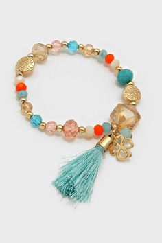 Crystal Lucky Bracelet in Aspen on Emma Stine Limited Cute Jewelry, Beaded Jewelry, Jewelry Accessories, Jewelry Design, Fashion Bracelets, Jewelry Bracelets, Tassel Bracelet, Crystal Fashion, Handmade Bracelets