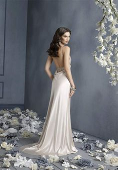 A-Line V-Neck Floor Length Attached Silk Charmeuse Beading Wedding Dress Style 8905