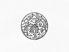 Cabin in the woods. by Harold Apples on Dribbble Doodle Drawings, Doodle Art, Easy Drawings, Miyazaki, Line Artist, Henna Designs, Paper Toy, Tinta China, Cabin In The Woods