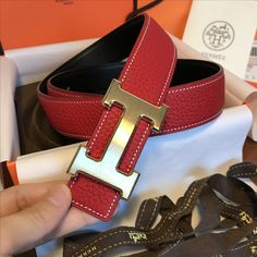 Hermes unisex woman man belt original leather reversible
