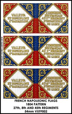 VXFF002 54mm Flags. French 27th, 8th & 45th Regiments 1804 pattern... High quality printed flags.