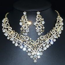 YT434 Clear Rhinestone Crystal Alloy Earrings Necklace Set Unbranded Bridal Gift