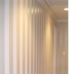 DIY - Decorate by paiting wall with matte and glossy stripes. Subtle colors that give a beautiful effect.