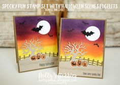Holly's Hobbies: Spooky Fun and Halloween Scenes Edgelits from @Stampinup are a must have! Not only are the halloween stamps adorable, but the tree and fence can be used for more than just Halloween!