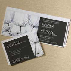 Dandelion Wedding Invitation Black and by willowglenstationery