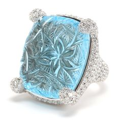 Rina Limor Designs and Carved blue topaz ring accentuated with diamond Topaz Jewelry, Gems Jewelry, High Jewelry, Diamond Jewelry, Jewlery, John Hardy, Cartier, Swarovski, Topaz Color