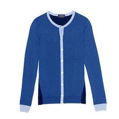 Women's Supima Cardigan Sweater - Vibrant Cobalt Colorblock from Lands' End Modern