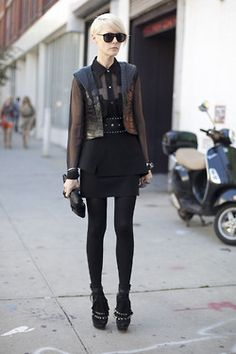 edgy black on black street style