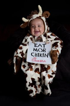 Chick-fil-a baby! Simple- just use any cow costume and print  sc 1 st  Pinterest & 28 best Chick-fil-A Cows images on Pinterest | Halloween decorating ...