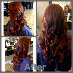 LOVEEEEE THIS Red hair with subtle balayage highlights. Hair by Courtney Shobe. Glo Salon & Spa Stillwater, OK