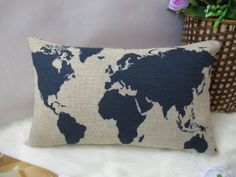 cotton linen pillow  world map decorative pillow by SweetyFairy, $16.90