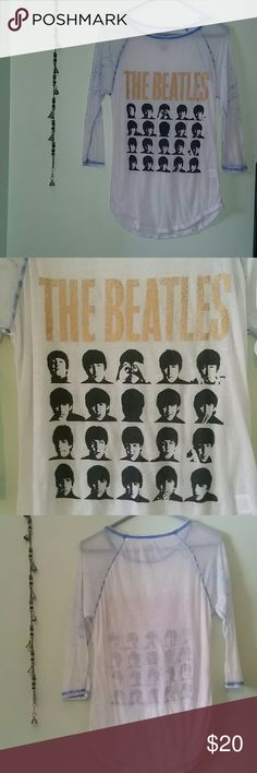 Vintage Small Beatles raglan baseball top Excellent condition! On thin vintage style cotton/poly mix (sort of sheer!). Loose and comfty and adorable with leggings or skinny jeans. Beatles Tops