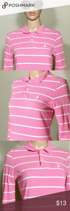 Ralph Lauren Pink Striped Long Sleeve Polo Shirt Size M MEDIUM - 100% Cotton In Very good condition!! Very adorable!! Fast shipping!! Ralph Lauren Tops Tees - Long Sleeve