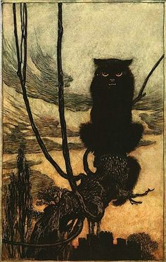 The Black Cat. from The Brothers Grimm Fairy Tales | Arthur Rackham