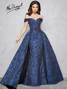 Couture Gowns by Mac Duggal Blue Evening Dresses, Long Evening Gowns, Evening Party, Mac Duggal, Long Formal Gowns, Strapless Dress Formal, Formal Dresses, Costura Fashion, Off Shoulder Evening Dress
