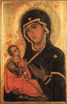 Byzantine icon —  Madonna di Grottaferrata, c.1230 :   Exarchial Monastery of St. Mary of Grottaferrata (516×800)