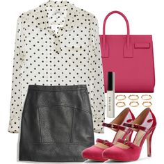 Lydia Inspired Outfit with a Pink YSL Bag by veterization on Polyvore featuring Equipment, Madewell, Isolá, Yves Saint Laurent, Forever 21 and Bobbi Brown Cosmetics