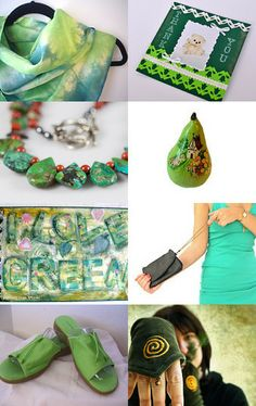 I Love Green by DLCS on Etsy--Pinned with TreasuryPin.com green silk scarf is handmade by JasmineVelvet.com