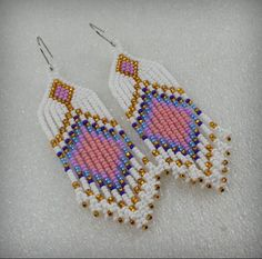 Fringe earrings  , Ethnic style , Long Indian style beads earrings - tribal style , boho style , Nat