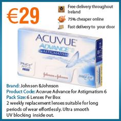 Johnson and Johnson Acuvue Advance for Astigmatism 2 weekly replacement lenses suitable for long periods of wear effortlessly. Ultra smooth, UV blocking , inside out marking with visibility handling tint