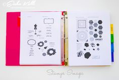 Reference binder for looking up for a stamp set. All the stamp sets that you own can be printed out or stamped on a paper and filed in the binder, for easy reference.