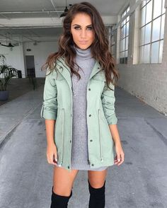 Mint green jacket, gray sweater dress, and thigh-high black boots