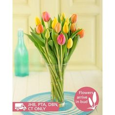 Buy or Send buy this beautiful bouquet of 10 or 20 mixed tulips and receive a FREE vase, sent this gift to anyone celebrating their birthday or anniversary. Vase may vary in South Africa. Beautiful Flower Arrangements, Beautiful Flowers, Order Flowers Online, Mothers Day Flowers, Gift Hampers, Tulips, Make It Simple, Glass Vase, Bouquet